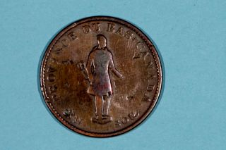 1837 Quebec (bas Canada) Half Penny Habitant Token - City Bank Br.  522 Vg photo