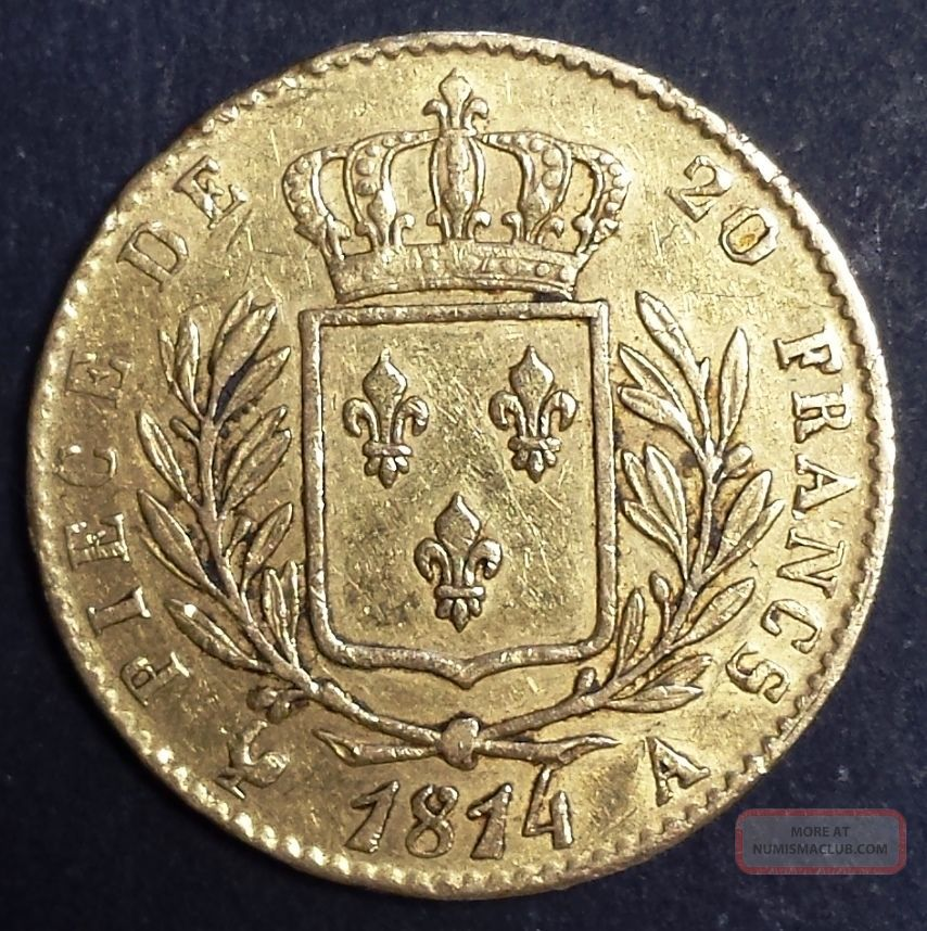 France Frankreich Louis - Xviii Gold 20 Francs 1814 A First Restoration Europe photo
