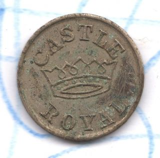 Vtg Antique Coin St.  Paul Mn Trade Token Castle Royal Tavern Nickel Plated Brass photo