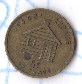 Vtg Antique Coin St.  Paul Mn Trade Token 1443 Arcade Log Cabin Knutson Tavern photo
