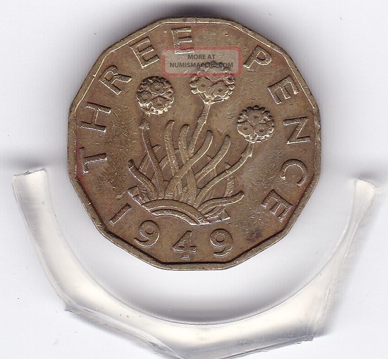 Key Date 1949 King George Vi Threepence (3d) Brass Dodecagon Coin UK (Great Britain) photo