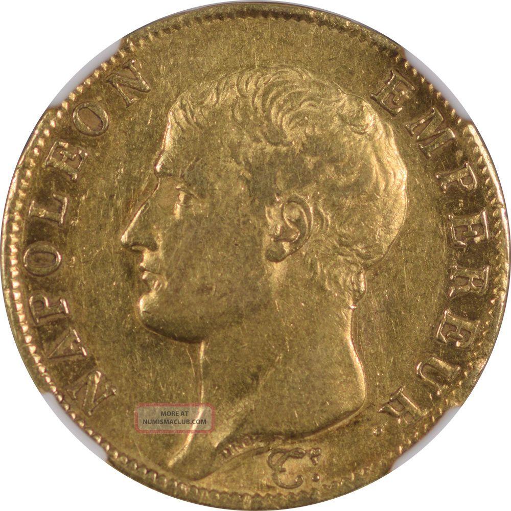 1806 - A France Gold 40 Francs,  Napoleon,  Km - 675.  1,  Ngc Au - 55,  Scarce 1 Year Type Europe photo