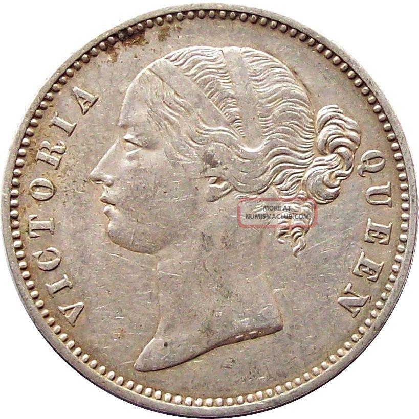 British East India Company 1 - Rupee Silver Coin Victoria 1840 Ad Km - 458 Very Fine India photo