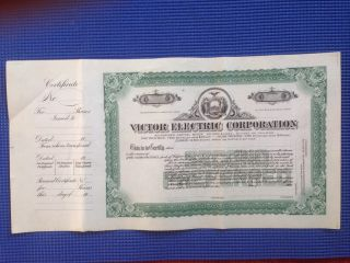 Unissued Stock Certificate For Victor Electric Corporation From 1916 photo