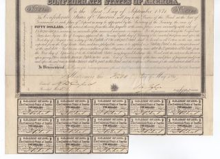 1861 $50 The Confederate States Of America War Bond W/ 13 Coupons photo