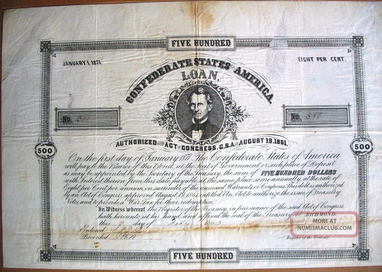 Confederate States Of America Loan Richmond Virginia 1863 Civil War Usa,  12 Cp. Stocks & Bonds, Scripophily photo