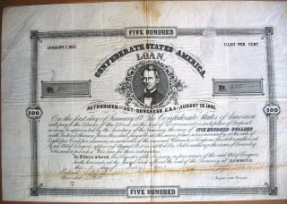 Confederate States Of America Loan Richmond Virginia 1863 Civil War Usa,  12 Cp. photo