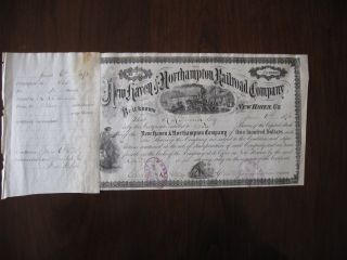 1873 Haven And Northampton Company Stock 10 Shares 465 photo