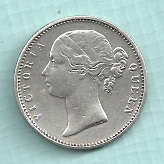 British India - 1840 - Victoria Queen - Half Rupee - W.  W Incused On Neck - Rare photo