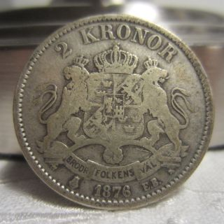 Sweden 2 Kronor 1876,  A Heavy Silver Coin,  Price (2) photo