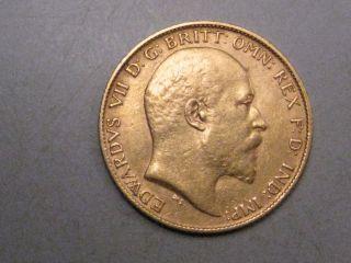 1903 Gold Half Sovereign.  Great Britain.  Edward Vii.  Agw.  1177 Troy Oz. photo
