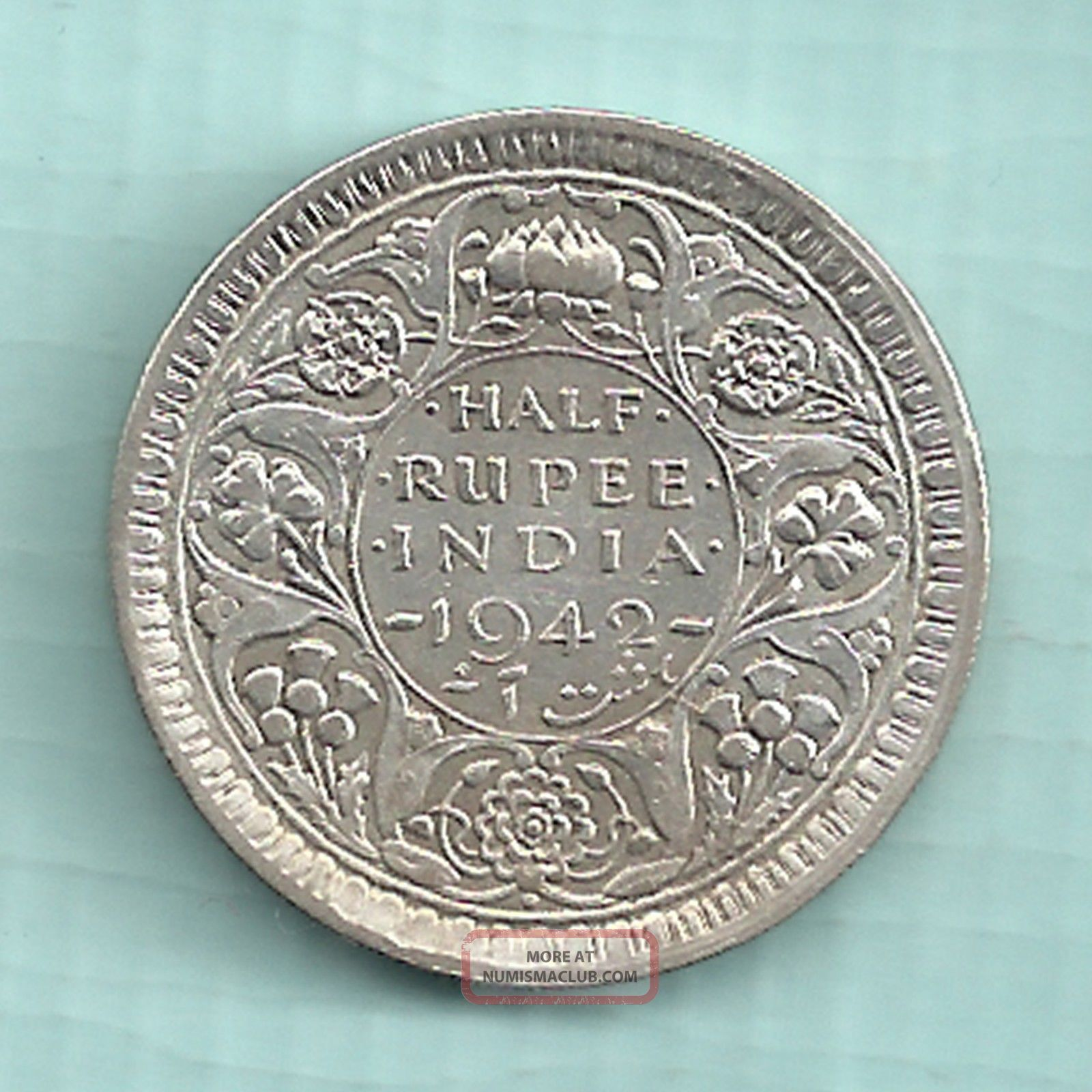 British India 1942 King George Vi Emperor Bombay Half Rupee Rare