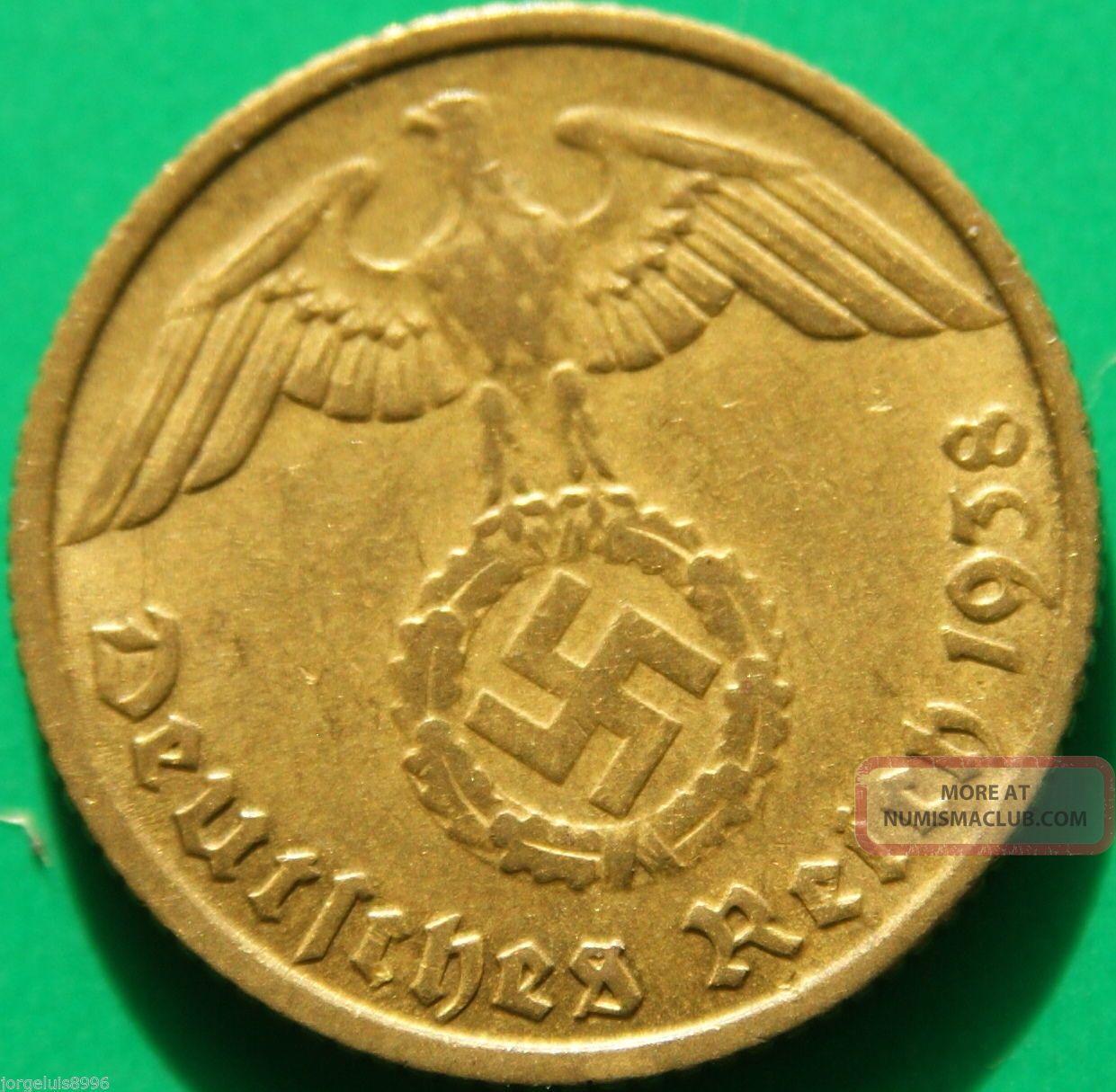 German Nazi Brass Coin 10 Rp 1938 E