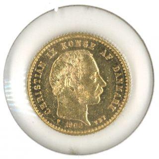 Denmark 1900 Gold 10 Kroner.  1296 Oz.  Agw photo