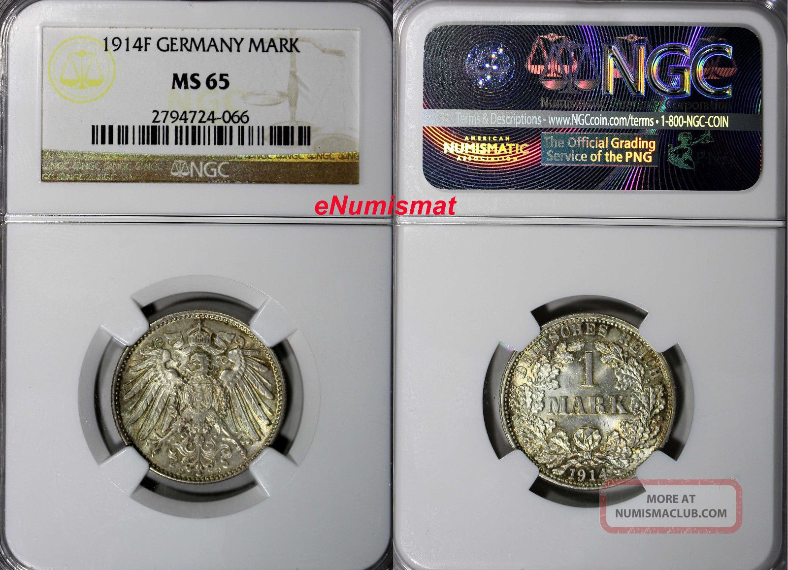 Germany - Empire Wilhelm Ii Silver 1914 F 1 Mark Ngc Ms65 Toning Km 14 Germany photo