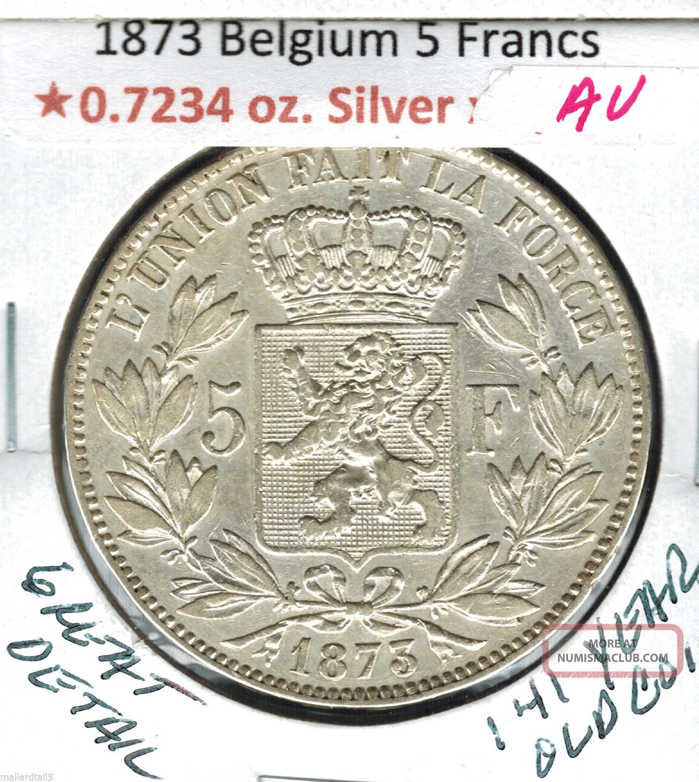 1873 Belgium 5 Francs Silver.  7734 Au Great Detail 141 Year Old Coin Km 24 Europe photo