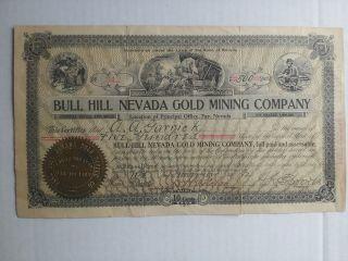 1912 Ball Hill Nevada Gold Mining Co.  Stock 500 Shares photo