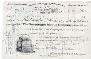 1880 Sweetwater Mining Co. ,  Treasuer Hill,  White Pine,  Nevada Stock Cert. photo