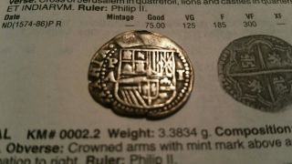 1586 - 89 Potosi Bolivia Silver 1 Reale Treasure Coin Assayer A Scarce photo