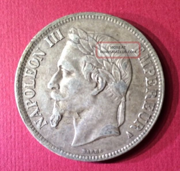 France Empire 5 Francs Silver Coin 1867 A (km 799.  1) F - Vf Napoleon Iii France photo