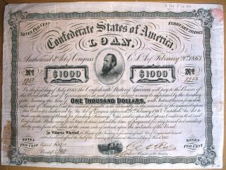 Confederate States Of America Loan Richmond Virginia 1863 Civil War Usa Cr 122 photo