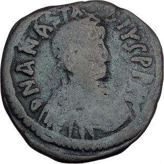 Anastasius I 491ad Large Ancient Authentic Medieval Byzantine Coin I44480 photo