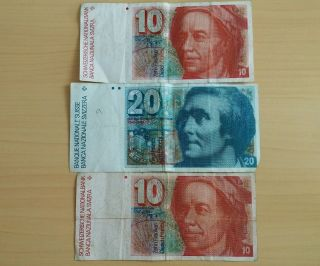 Switzerland Swiss Banknote 20/10 Swiss Francs,  Circulated photo