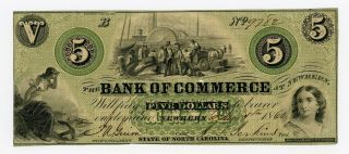 1860 $5 The Bank Of Commerce - Newbern,  North Carolina Note photo