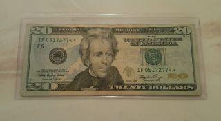 $20 2006 Rare Star Note S If 05172774 Lucky 20 Dollar Bill photo