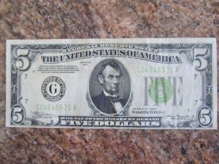 Federal Reserve 1934 Green Seal 5 Dollar Note - Chicago photo