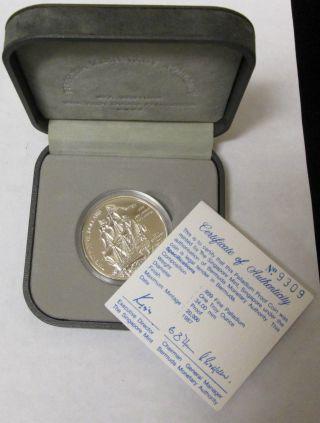 1987 Bermuda $25 1 Oz Palladium Proof Sea Venture W/ Box & photo