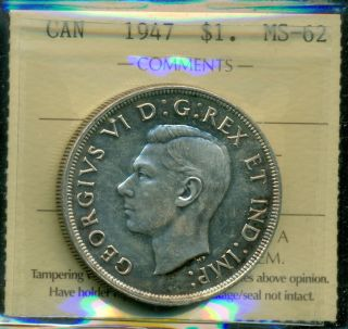 1947 Blunt 7 Canada King George Vi Silver Dollar,  Iccs Certified Ms - 62 photo