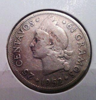 Dominican Republic Silver 25 Centavos,  1952 photo