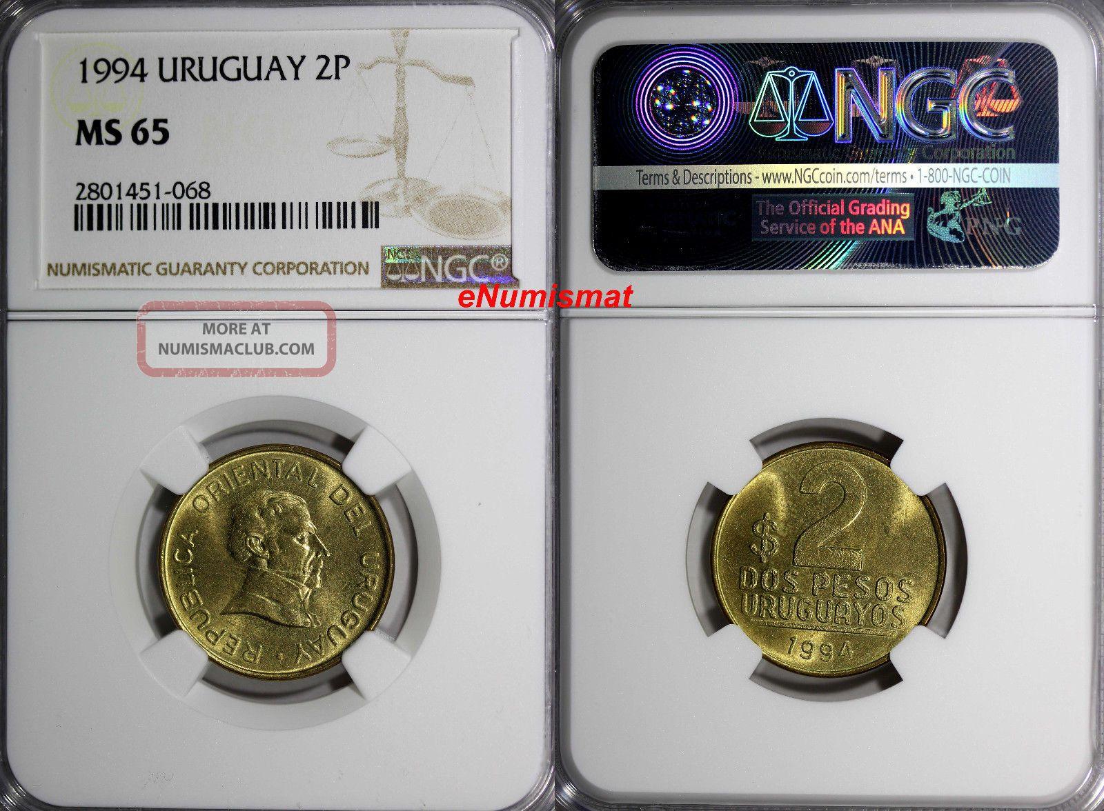 Uruguay 1994 2 Pesos Uruguayos Ngc Ms65 Jose Gervasio Artigas Km 104 South America photo