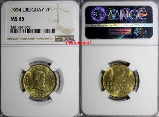 Uruguay 1994 2 Pesos Uruguayos Ngc Ms65 Jose Gervasio Artigas Km 104 photo