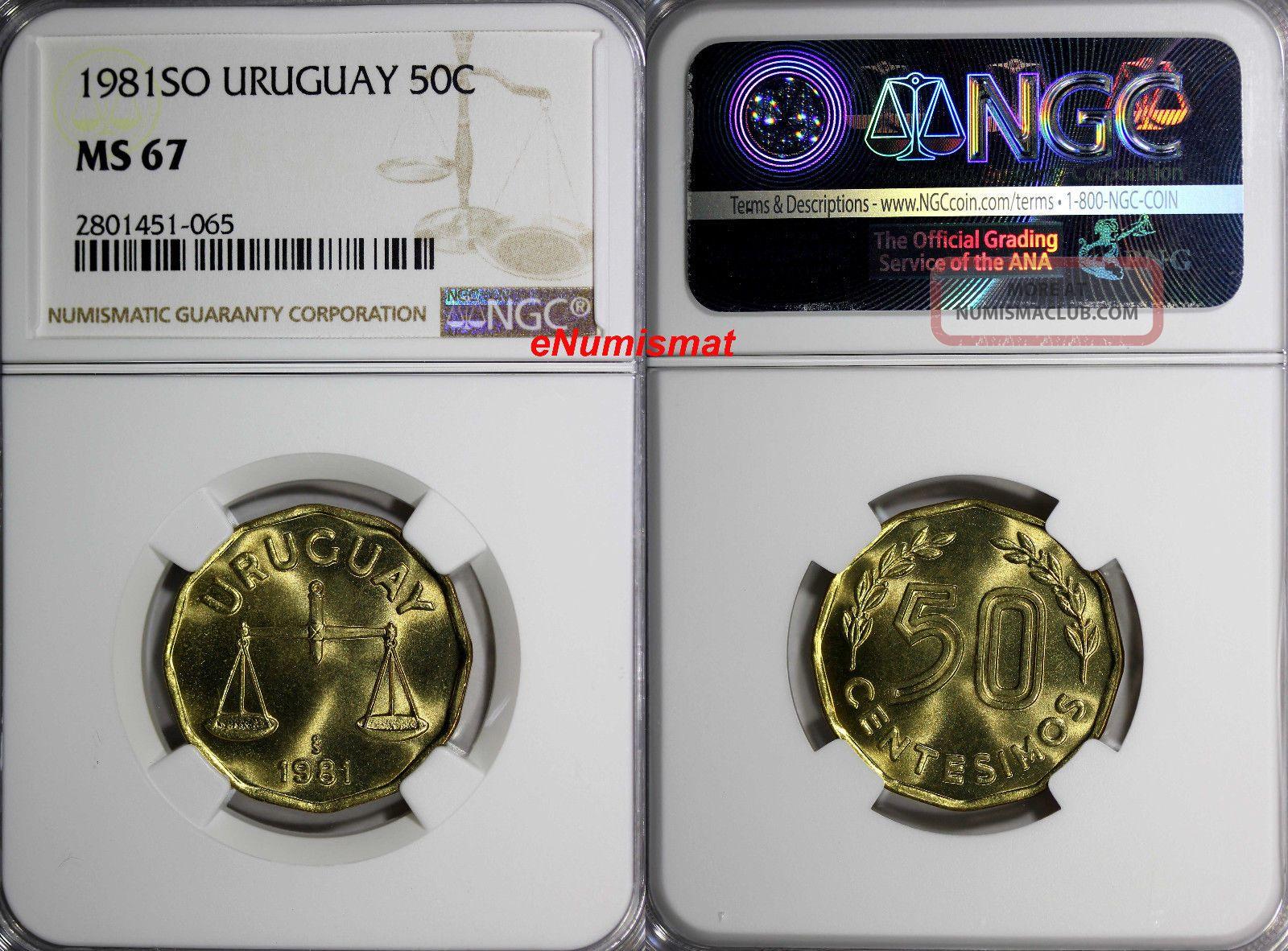 Uruguay 1981 So 50 Centesimos Ngc Ms67 Top Graded Coin Mintage - 200,  000 Km 68 South America photo