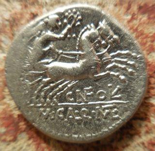 Roman Republic Silver Denarius.  M.  Calidius,  Q.  Caecilius Metellus & Cn.  Fulvius photo