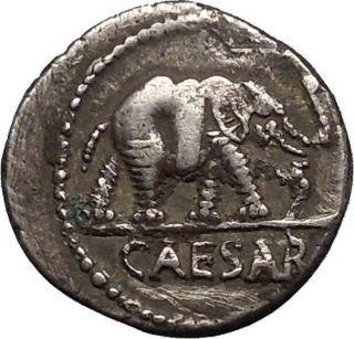 Julius Caesar Elephant Serpent 49bc Authentic Ancient Silver Roman Coin I52906 photo