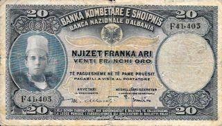 1945 Banca Nazionale - Albania 20 Fraka Ari In Pick: 12 photo