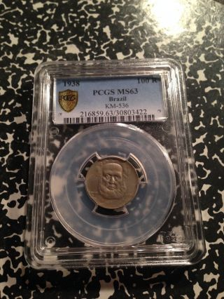 1938 Brazil 100 Reis Pcgs Ms63 A088 Coin Km - 536 photo