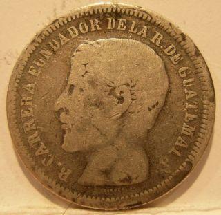 Guatemala 1866r Silver 2 Reales (dos) Circulated photo