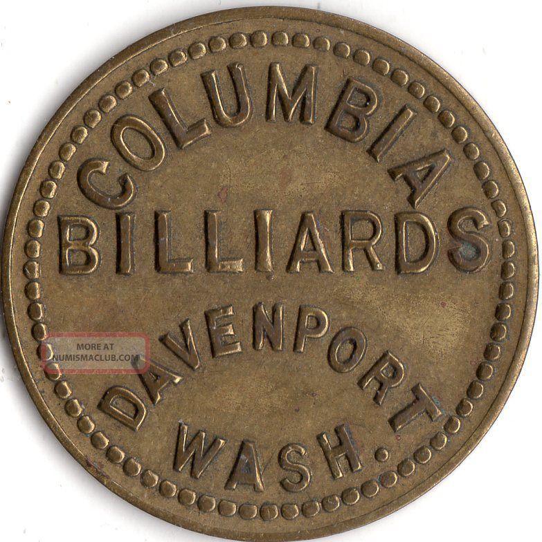 Davenport Washington Columbia Billiards Merchant Good For Trade Token Exonumia photo