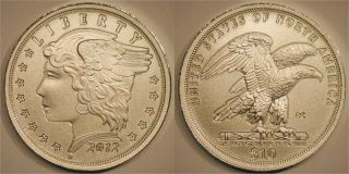 Daniel Carr 2012 $10 Trade Dollar Satin Finish.  999 Silver 1 Of Only 103 Minted photo