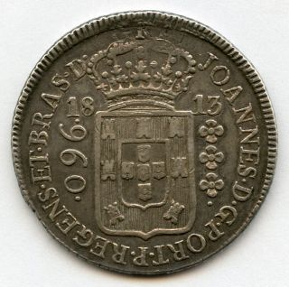 Brazil 1813 - R 960 Reis Overstruck On Spanish Colonial 8 Reals Toned Xf. photo