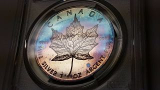 1989 Pcgs Ms67 Canada Silver Maple Leaf Rainbow Color Monster Toned - E9 - photo