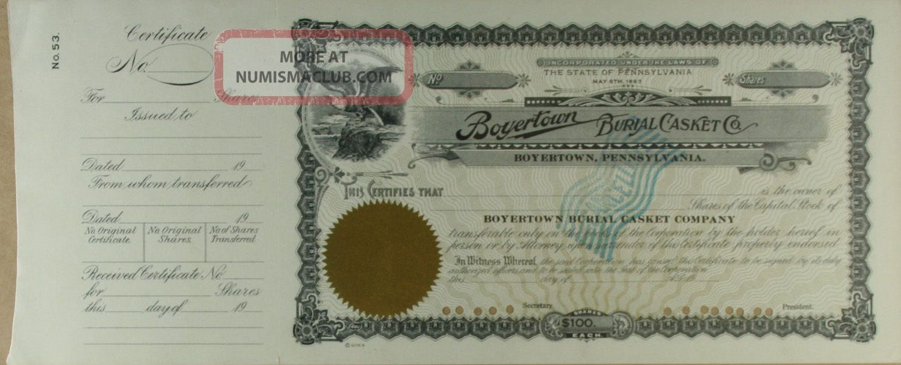 S732 Boyertown Burial Casket Company Stock Certificate Unissued Stocks & Bonds, Scripophily photo