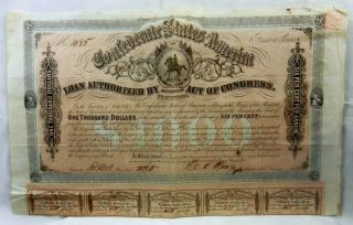 1864 Confederate States Of America $1000 Bond 6 First Series With Coupons photo