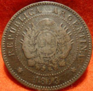 Argentina 1 Centavos 1893 Coin Km 32 Copper Scarce Coin photo