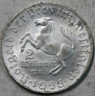 1923 Horse Westphalia 2 Million Mark Germany Notgeld Coin 26mm (16012501r) photo