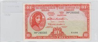 Ireland 10 Shilling 1964 Ex - Fine Pk - 63a photo